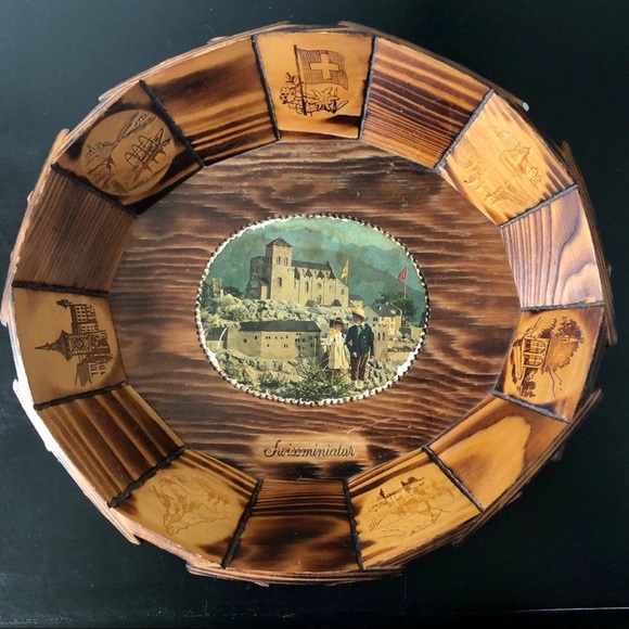 Vintage Swiss Wooden Basket